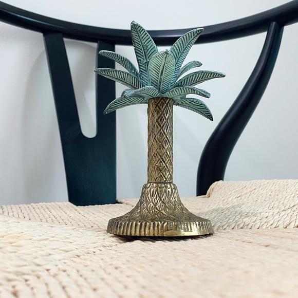 Vintage Brass Palm Tree Candlestick Holder